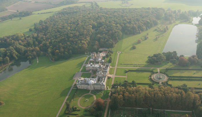 A fine aerial view and picture of Castle Howard, the 18th Century estate and home of the Howard family for over 300 years taken on one of our balloon flights from the ancient city of York in autumn.